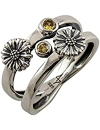 Fourseven 925 Sterling Silver Les Fleurs Twin Daisy Ring for Women and Girls (Gift for Her) | Size: 16
