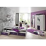CRAVOG Jugendzimmer Kinderzimmer Komplett Set 6 tlg. Bett Kleiderschrank Schreibtisch Bücherregal Wandregale Rollcontainer (Lila)