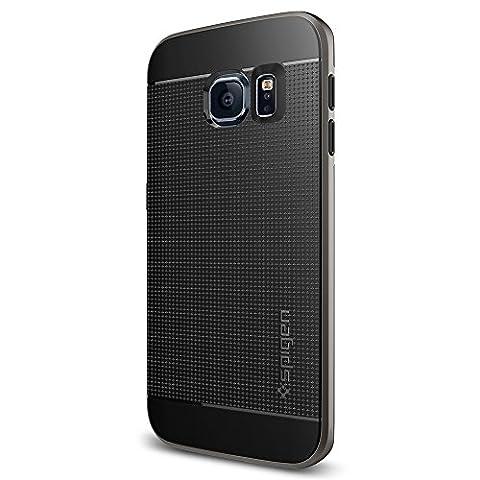 Samsung Galaxy S6 Edge Hülle, Spigen [Neo Hybrid] Dual-Layer Schutzrahmen [Gunmetal] TPU Schale + PC Farbenrahmen / 2-teilige Premium Handyhülle / Schutzhülle für Samsung S6 Edge Case, Samsung S6 Edge Cover, Galaxy S6 Edge Case, Galaxy S6 Edge Cover - Gunmetal