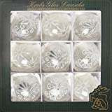Lauscha - Set di 9 Palline per Albero di Natale, in Vetro, con Occhiello, Dimensioni: 8 cm