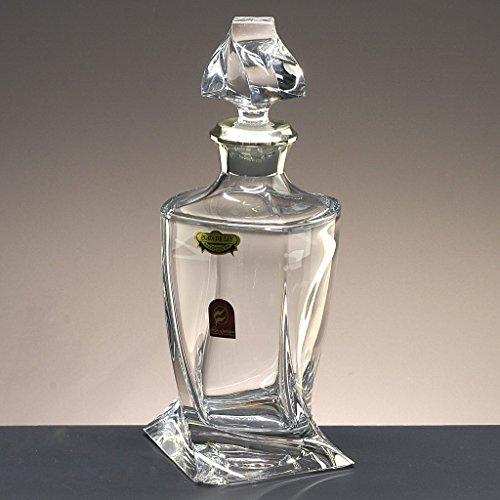 Glasflasche, Dekanter, Karaffe, für Whisky und Spirituosen, Böhmen, Kollektion Quadro, Düse aus 925er Sterling Silber, 27,9 cm. Höhe.