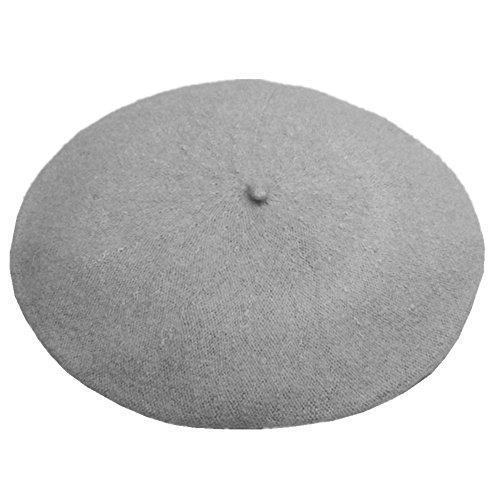 JOYHY Damen Solide Klassisch Französisch Stil Baskenmütze Mütze Hut Hell Grau