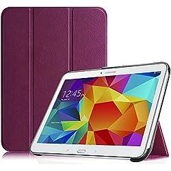 FINTIE Housse pour Tablette Samsung Galaxy Tab 4 10.1 SM-T530 SM-T535 (10.1 Pouces) - Ultra-Mince et Léger PU Cuir étui Coque Case Cover avec la Fonction Sommeil/Réveil Automatique, Pourpre