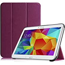 Housse Samsung Galaxy Tab 4 10.1 Étui - Fintie Slim Fit PU cuir étui Coque Case Cover avec Support Ultra-Mince et Léger et la Fonction Sommeil/Réveil Automatique pour Tablette Samsung Galaxy Tab 4 10.1 SM-T530 SM-T535 (10.1 Pouces), Pourpre