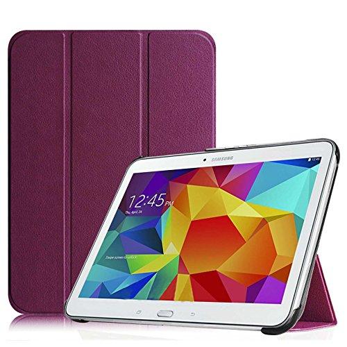 Fintie Hülle für Samsung Galaxy Tab 4 10.1 SM-T530 SM-T535 - Ultra Schlank Superleicht Ständer SlimShell Cover Schutzhülle Etui Tasche mit Auto Schlaf/Wach Funktion, Lila (Tab 4-tablet-cover)