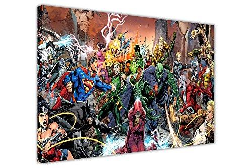 (Pop Art Leinwand Art Wand Bilder Justice League Saga DC Comics Raum Dekoration Poster Prints, canvas holz, 09- A0 - 40