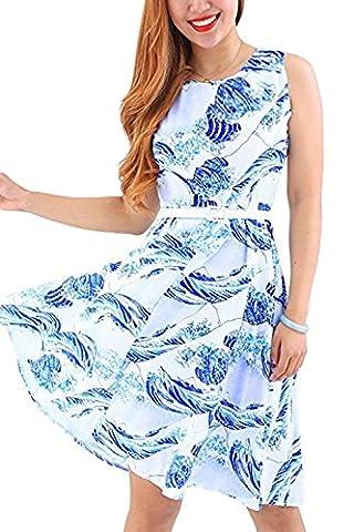 YMING 50er jahre vintage rockabilly kleid partykleid hepburn stil swing kleid petticoat kleid Übergröße,Blau,Kanagawa Welle,XXXL / DE
