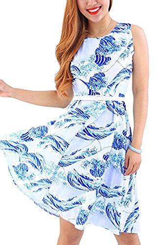 YMING Sommerkleid ärmellos knielangPartykleider Petticoat Kleid Hepburn Stil Swing-kleid,Blau,Kanagawa Welle,S (Block-ferse-knie-boot)