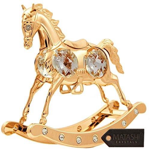 Matashi ornamento–magnifico cavallo a dondolo 24ct placcato oro realizzato con 20cristalli