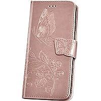 JAWSEU Funda Compatible con Samsung Galaxy A50, 3D Mariposa Flores Diseño PU Cuero Libro Flip Billetera Tapa Cartera Case Cierre Magnético Soporte Plegable Ranura para Tarjetas Cubierta,Oro Rosa