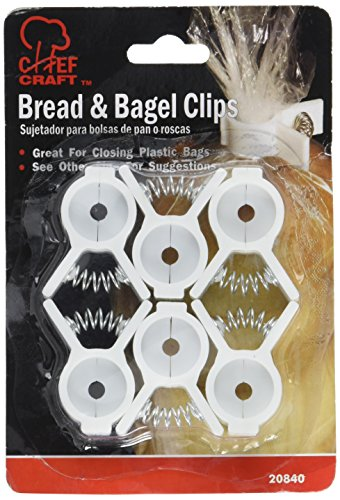 Chef Craft 20840, 6-piece Bread and Bagel Bag Clips. Seal Your Bread, Rolls, Bagels, Frozen Foods, Popcorn, Corn Chips, Pretzels, Candy Bags, Snack Bags, and More Easily with These Food Bag Clips. by Chef Craft