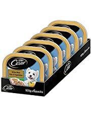 Cesar Adult Wet Dog Food, White Meat Fish & Vegetables, 6 Trays (6x100g)