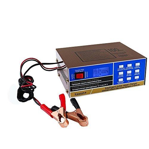 Caricabatterie per auto, completamente automatico, 12 V/24 V, 10 A, caricabatterie intelligente per riparazione di impulsi per camion e moto
