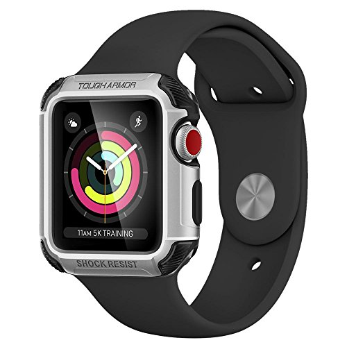 Apple Watch 3/2 Hülle, Spigen® [Tough Armor] 42mm Schutzhülle für Apple Watch 3/2 [Silber] Doppelte Schutzschicht & Extrem Hoher Fallschutz Schutzhülle für Apple Watch 3 (42mm) & Apple Watch 2 (42mm) - Silver (058CS22634)