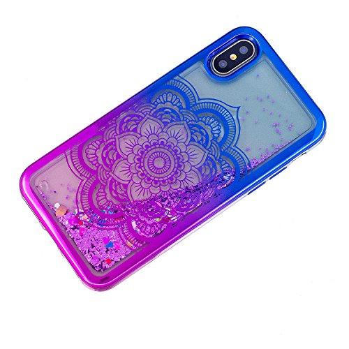 iPhone X hülle flüssig,iPhone X hülle glitzer, LuckyW TPU Silikon Gradient Farbe Handyhülle für iPhone X 3D Bling Glitter Glitzer Flowing Fließend Liquid Flüssig Shinny Moving Star Floating Trend Schw Mandala