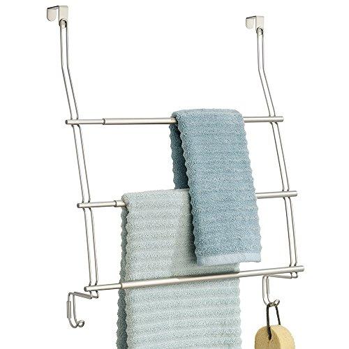 mDesign Handtuchhalter ohne Bohren montierbar - Handtuchhalter Tür-Befestigung einfach einzuhängen - als Duschhandtuchhalter, Badetuchhalter & für Kleidung - satiniert