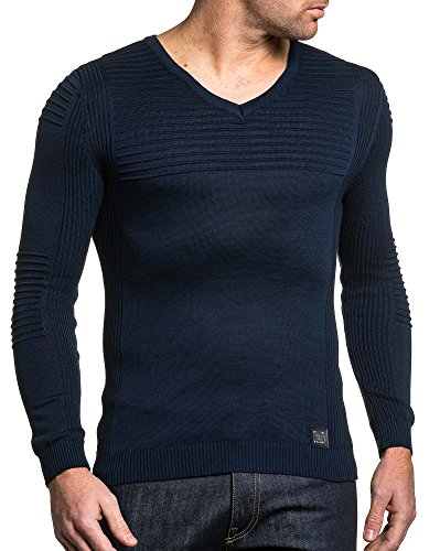 BLZ jeans - Pullover bleu navy homme fine maille Bleu