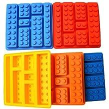 Molde rectangular de silicona con forma de ladrillo de Lego; es el utensilio perfecto para que hagas chocolate y pasteles