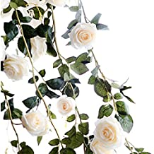 TININNA 180cm Fait à la Main Rose Artificielle Lierre Guirlande Feuille Garland Fleurs Pour Décoration Maison Jardin Mariage Fenetre Blanc