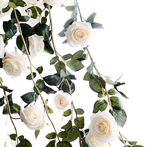 Butterme 1PCS 6 FT gefälschte Rosen Rebe Blumen Anlagen künstliche Blumen Haupthotel Büro Hochzeitsfest Garten Fertigkeit Kunst Dekor Weiß