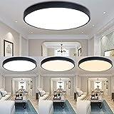 ETiME LED Deckenleuchte Modern Deckenlampe Ultraslim Dauerbeleuchtung Lampe 85V-265V Energie Sparen Licht für Schlafzimmer Küche Flur Wohnzimmer (Schwarz Dimmbar mit FB, 50cm Rund)