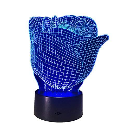 Flower Rose 3d Stereo Vision Lampada Acrilica 7 colori che cambiano Usb Camera da letto comodino Luce notturna Creative Desk Lamp Decorazione di cerimonia nuzialeTocco remoto