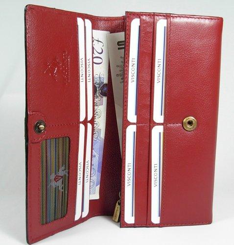 New Ladies Visconti Large Heritage Red Leather Purse Wallet RFID Anti Fraud CR7