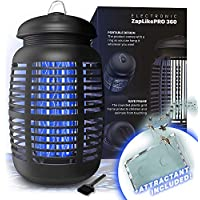 Bug Zapper & Attractant - Effective Electric 220-240V Mosquito Zappers/Killer - Insect Fly Trap, Waterproof Outdoor/Indoor - Electronic Light Bulb Lamp for Backyard (Black)