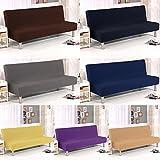 Funda de sofá elástica para cama de poliéster y fibra de spandex con funda de sofá especializada, sin reposabrazos, a la moda, color liso