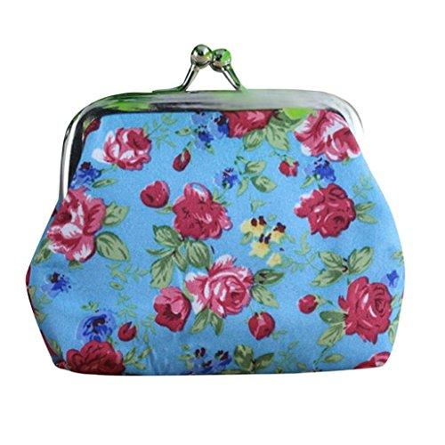 ZARU Lady Retro Vintage Blumen-kleine Mappe Haspe Purse Blau