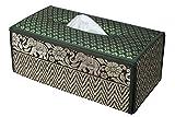 CCcollections Taschentuchbox 20+ Farben Behälter aus natürlichem Schilf umweltfreundliches nachhaltiges Material mit Seideneinfassung mit Elefanten-Design (D GRÜN)