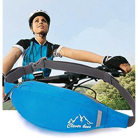 uwild® hüfttasche multifunzione sport elastico sacchetto di taglia Pack cintura sacchetto/Razza Belt–Fitness Workout Cintura per gli uomini e le donne, Blu