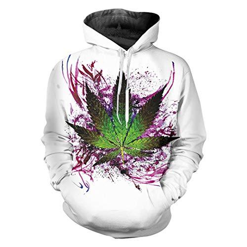 Pokem&Hent Mens Funny Print verlässt Blume 3D Hoodie Sweatshirt Trainingsanzüge Mantel Leaves Flower 5XL -