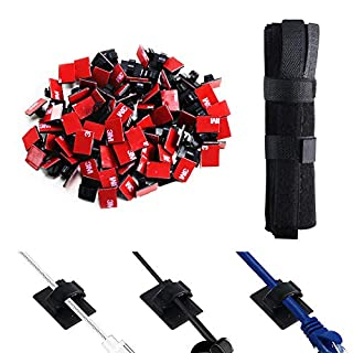 ETSAMOR 100pcs Adhesive Cable Clips and 50pcs Cable Ties Reusable Fastening Cable Wire Straps Wire Organizer Cable Management for TV, PC and Laptop