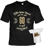 Lustige Sprüche Fun Tshirt Bitte kein Neid weil ich mit 60 so gut aussehe! - Geburtstag tshirt mit Mini Shirt ohne Flasche!