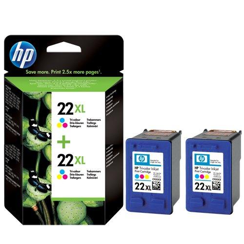 Original Tinte passend für HP DeskJet F 2238 HP 22XL , 22XLC , 22XLCOLOR , NO22XL , NO22XLC , NO22XLCOLOR , Nr 22 C9352CE C9352CEABB C9352CEABD C9352CEABE C9352CEABF - Premium Drucker-Patrone - Cyan, Magenta, Gelb - 415 Seiten - 11 ml -