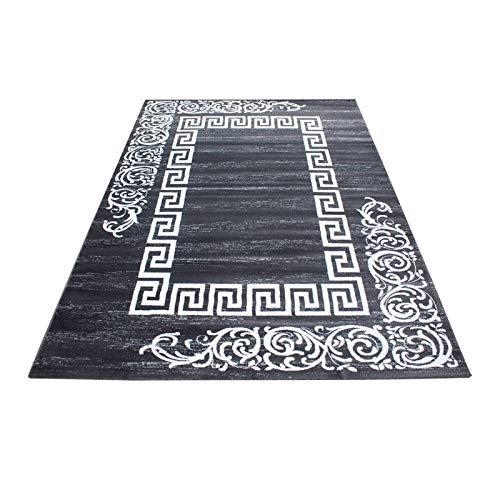 Teppich modern Designer für Wohnzimmer kurzflor Versace Muster mit Barock Motiv Grau Weiß Oeko Tex Standarts, Maße:160x230 cm