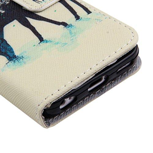 Custodia per iPhone 4S,TOCASO Flip Case PU Pelle [Wallet Book Design] Caso per iPhone 4 4S Portafoglio Cover Ultra Sottile Leather Protettivo Cases Covers Shell [Magnet Closure] ID Carta Slots Caso Gu deer