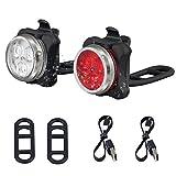 YOOSUN LED Fahrradlampe Set,Wasserdichte Fahrradlicht Wiederaufladbare Frontlicht und Rücklicht Für Fahrrad,USB LED Fahrradlicht Set, Fahrradbeleuchtung, Kinderwagenbeleuchtung,650mAh Lithiumbatterie,4 Licht-Modi 2 USB-Kabel zum Aufladen