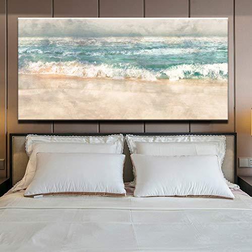 Poster Und Druck Wandkunst Leinwand Malerei, moderne Abstrakte Strand Surf Landschaft Wandkunst Bild Wohnzimmer Dekoration Malerei 40x80 cm Kein Rahmen als bild