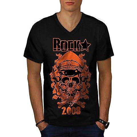 Roche Étoile Crâne Battre Pirate La Homme NOUVEAU Noir T-shirt XXL | Wellcoda