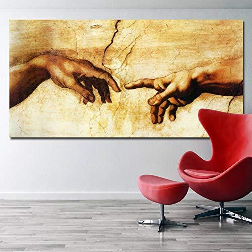 SUNNYWLH Pittura Senza Cornice Quadro su Tela Creazione di Adamo Religione Classica Immagini Murali per Soggiorno Manifesti Famosi con Stampe d'Arte