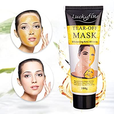 24K Gold Collagen Mask Luckyfine Gold Collagen Peel-Off Face Mask for Face Skin- Anti Ageing, Anti Wrinkles, Moisturising, Blemishes, Firming,Contain Vitamin E by Luckyfine
