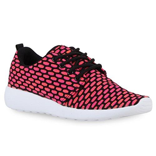 Damen Herren Sneaker Sportschuhe schwarz Turnschuhe Runners mit Blumen Print in mehreren Farben Schwarz Pink