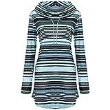 40%-60% Off!Ieason Womens Long Sleeve Tops Stripe Pockets Cowl Neck Pullover Sweatshirt Blouse
