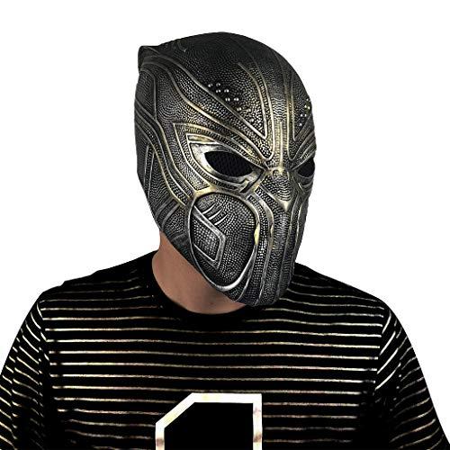 Ultron Erwachsenen Deluxe Für Kostüm - QWEASZER Marvel Avengers Black Panther Maske, Neuheit Halloween Kostüm Black Panther Helm Deluxe Latex Film Cosplay für Erwachsene,Marvel Avengers Black Panther Mask-OneSize