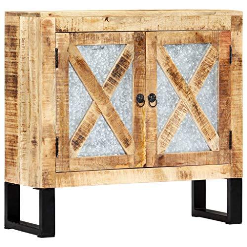 Tidyard Sideboard Kommode Mehrzweckschrank Schrank Highboard Badezimmerschrank Aufbewahrungsschrank Anrichte aus massivem Mangoholz,Naturfarben und Schwarz