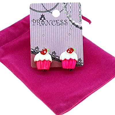 Princess-J Pink Cupcake with Strawberry Clip-on Stud Earrings for Kids Teenage Girls Daughter Party Gift