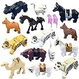 NURICH 16er 3D Puzzle Bausteine Spielfigur Mini Tiere Figuren Set: Tiger, Panther, Pferde, Kamel, Papagei, Katze, Hunde, passen zum Lego Tiere