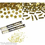 TrAdE shop Traesio 2 TUBI TUBO SPARA CORIANDOLI GOLD CANNONE 40CM FESTA PARTY PROMESSA MATRIMONIO